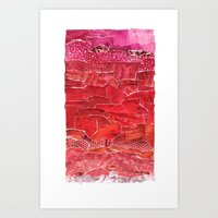 Red Ombre Collage Art Print