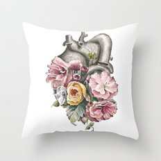 Floral Anatomy Heart Throw Pillow