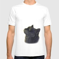 Cat and the light  Mens Fitted Tee White SMALL
