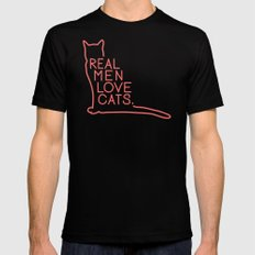 Real Men Love Cats SMALL Mens Fitted Tee Black