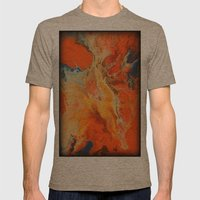 Orange and Blue Mens Fitted Tee Tri-Coffee SMALL