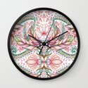 Lily, Leaf & Triangle Pattern – multi-color version Wall Clock