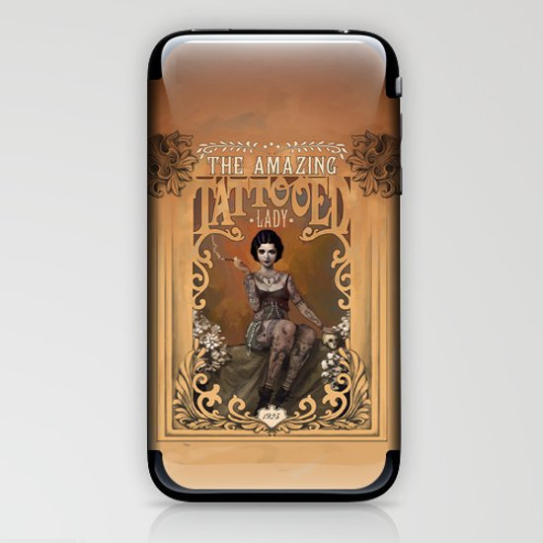 The Amazing Tattooed Lady iPhone & iPod Skin