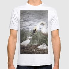 Tom Feiler Swan and her Cygnets Mens Fitted Tee Ash Grey SMALL