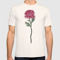 Pink Chrysanthemum Mens Fitted Tee Natural SMALL