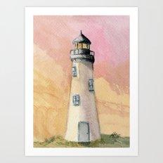Lighthouse At Sunset Art Print