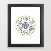 Suzani inspired floral blue 3 Framed Art Print
