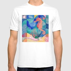 Seahorse collage Mens Fitted Tee White SMALL