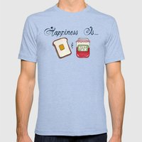 Happiness Is Toast & Jam Mens Fitted Tee Tri-Blue SMALL