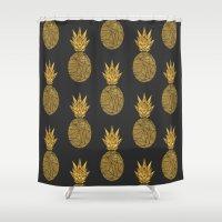 Bullion Rays Pineapple Shower Curtain