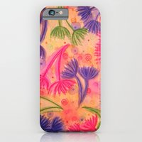iPhone & iPod Case featuring COW PARSLEY 3 - Happy Neon Pink Cherry Acid Green Nature Floral Abstract Watercolor Painting Pattern by EbiEmporium
