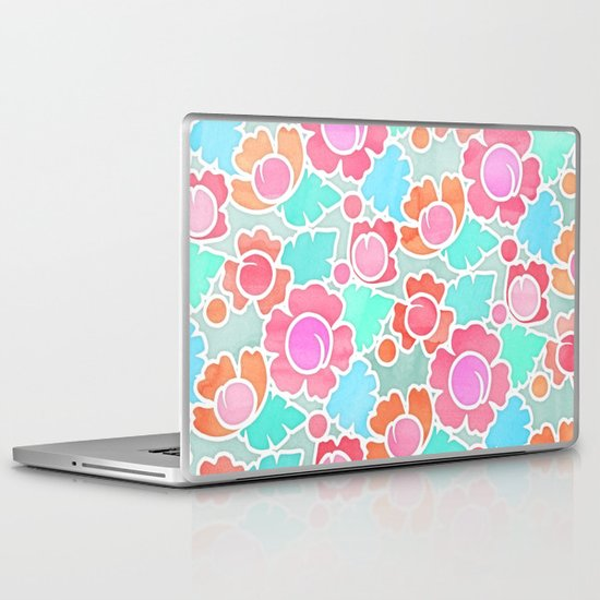 Pastel Tropical Floral Pattern Design with watercolor texture Laptop & iPad Skin