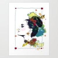 Profile Of Woman Bun Art Print