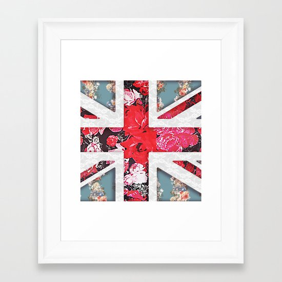 God save the Queen | Elegant girly red floral & lace Union Jack  Framed Art Print