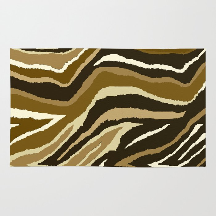 Animal Print Zebra Brown Pattern Rug By Saundra Myles