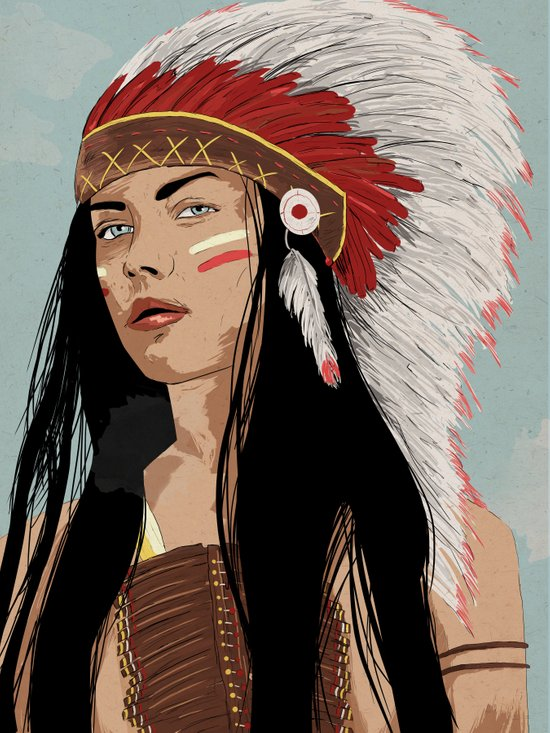 Girl in Headdress  Art Print