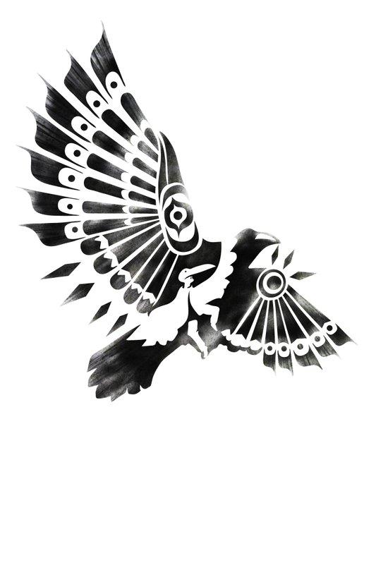Raven Crow Shaman tribal design Art Print