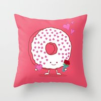 The Donut Valentine Throw Pillow