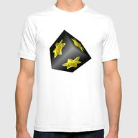 Daffodil On Black Mens Fitted Tee White SMALL