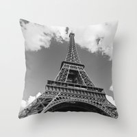 Eiffel Tower - Black and White Throw Pillow