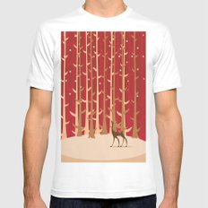 Christmas Reindeer. 1 SMALL White Mens Fitted Tee