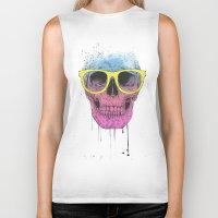 Pop Art Skull With Glass… Biker Tank