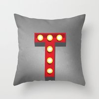 T - Theatre Marquee Letter Throw Pillow