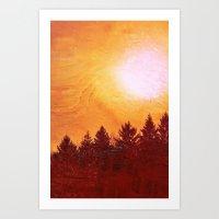 Painted Evergreens Art Print
