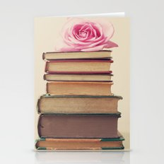 Old Books and Pink Rose Stationery Cards