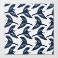 White Wagtails Pattern Canvas Print