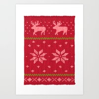 Winter Lovers Christmas Art Print