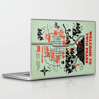 map Laptop & iPad Skins featuring Twin Peaks Map by Robert Farkas