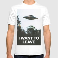 I want to leave Mens Fitted Tee White SMALL