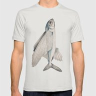 Fish Poisson Volant Mens Fitted Tee Silver SMALL