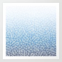 Gradient blue and white swirls zentangle Art Print