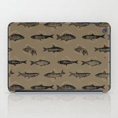 Fishes In Geometrics (Dark Sand) iPad Case
