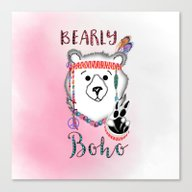 Bearly Boho Polar Bear H… Canvas Print