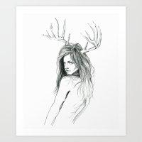 Mon Petit Chevreuil (My Little Deer) Art Print