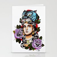 PaperTigress Girl With T… Stationery Cards