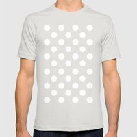 Polka Dots.. Mens Fitted Tee Silver SMALL