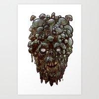 Heads of the Living Dead Zombies: Mushroom Head Zombie Art Print