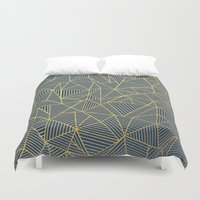 Ab Lines Gold and Navy Duvet Cover