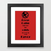 Keep Calm And May The Odds Framed Art Print