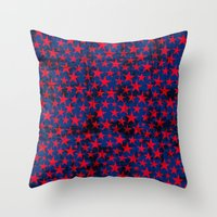 Red stars on grunge textured blue background Throw Pillow