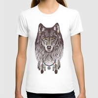 wolf T-shirts featuring Wind Catcher Wolf by Rachel Caldwell