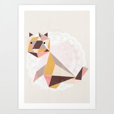 Geometric Cat Art Print