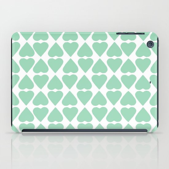 Diamond Hearts Repeat Mint iPad Case