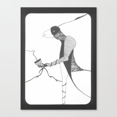 raven drinking wine Canvas Print