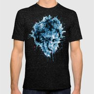 Skull Splash Mens Fitted Tee Tri-Black SMALL
