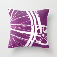 Purple Bike Throw Pillow